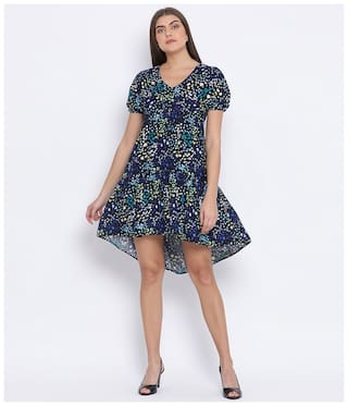 Oxolloxo Cotton Navy Blue Printed A Line Dress  For Women