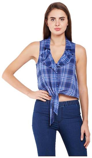 OXOLLOXO Women Blue Printed Regular Fit Shirt
