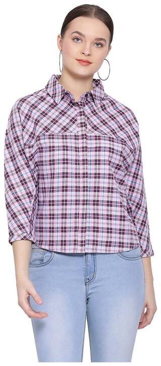 Oxolloxo Women Purple Checked Regular Fit Shirt