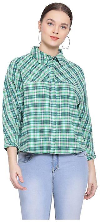 Oxolloxo Women Green Checked Regular Fit Shirt