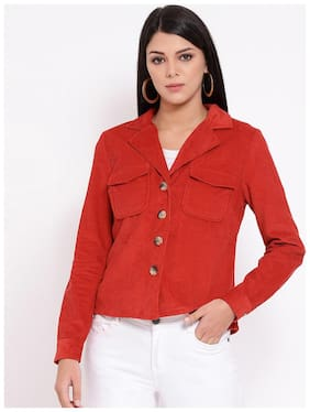 OXOLLOXO Women Striped Regular FIt Blazer - Red