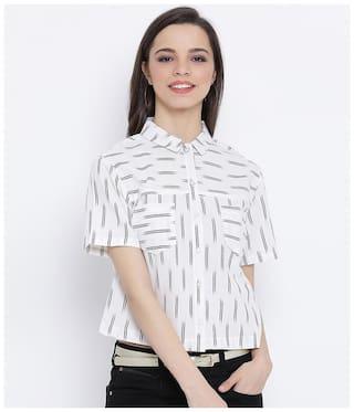 Oxolloxo Women Black & White Striped Regular Fit Shirt