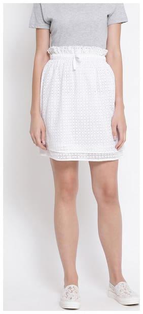 OXOLLOXO Printed A-line skirt Mini Skirt - White
