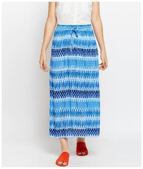 OXOLLOXO Printed A-line skirt Maxi Skirt - Blue
