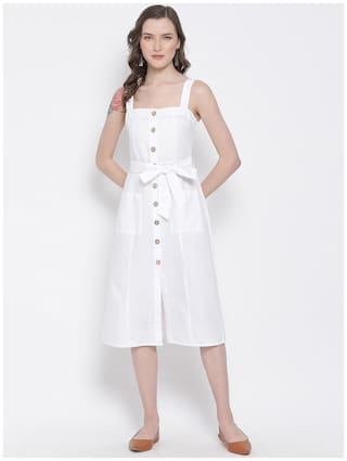 Oxolloxo Cotton White Solid A Line Dress  For Women