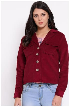 OXOLLOXO Women Solid Regular FIt Blazer - Maroon