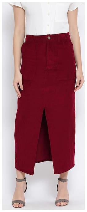 OXOLLOXO Striped A-line skirt Maxi Skirt - Maroon