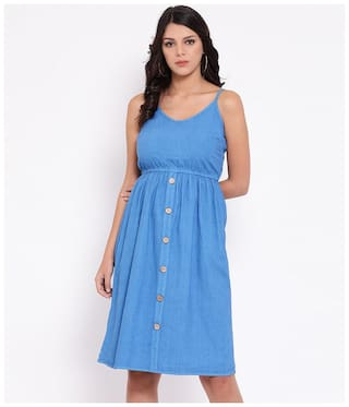Oxolloxo Blue Solid A-line dress