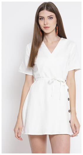 OXOLLOXO White Solid A-line dress