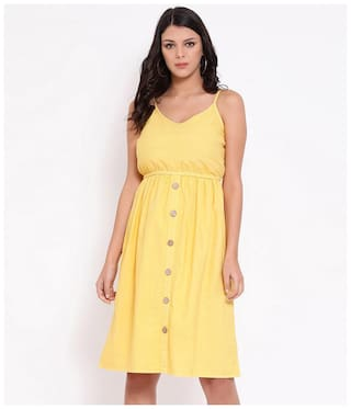 Oxolloxo Yellow Solid A-line dress