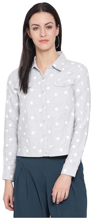 Oxolloxo Women White Printed Regular Fit Shirt