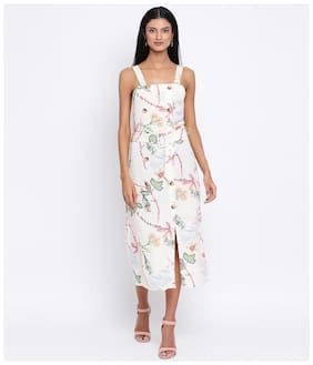 Oxolloxo Cotton White Floral A Line Dress  For Women