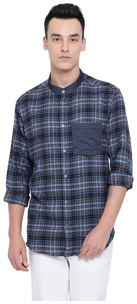 Oxolloxo Men Blue Checked Regular Fit Casual Shirt