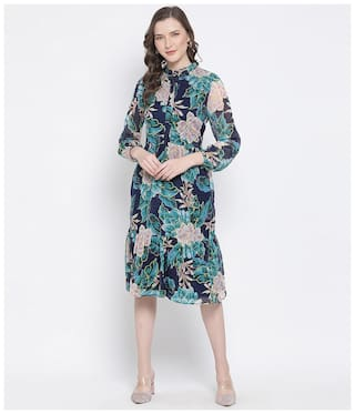 Oxolloxo Polyester Floral Blue Dresses For Women