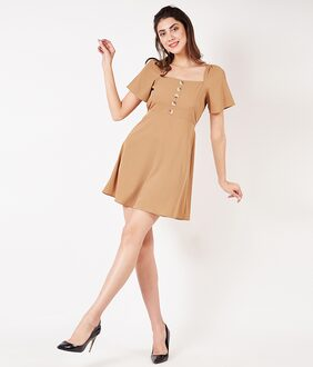 OXOLLOXO Polyester Solid A-line Dress Brown