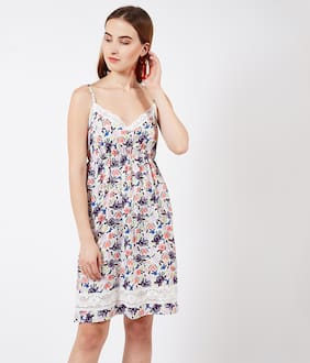 OXOLLOXO Polyester Printed A-line Dress Multi