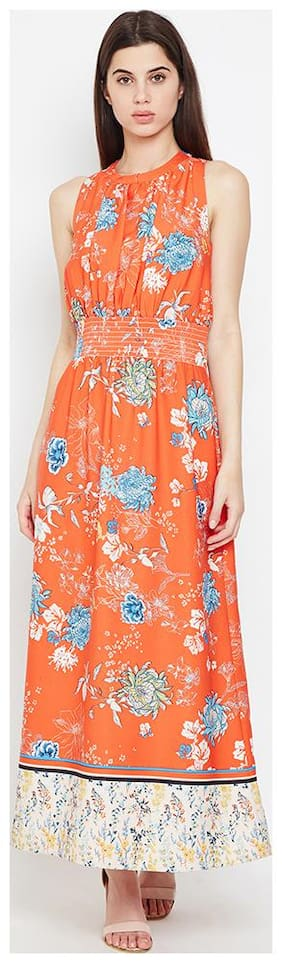 OXOLLOXO Polyester Printed A-line dress Orange