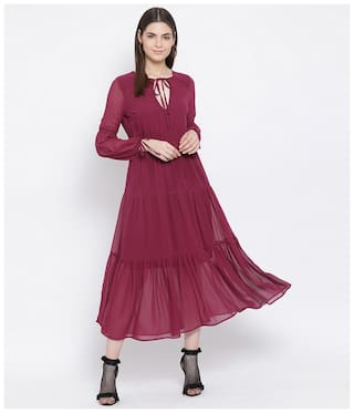 Oxolloxo Red Solid A-line dress