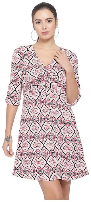 Oxolloxo Beige Printed A-line dress