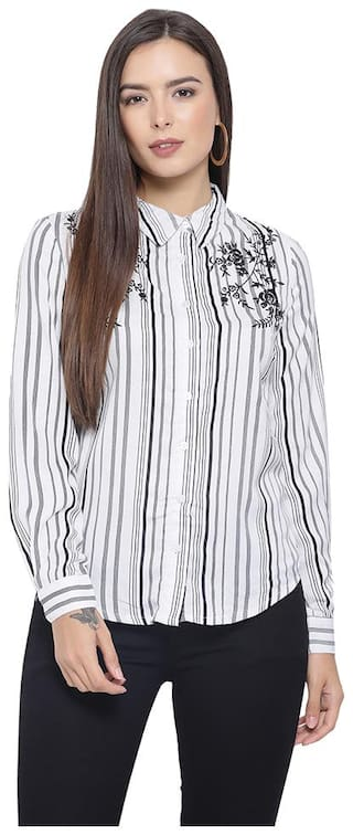 Oxolloxo Women White Striped Regular Fit Shirt