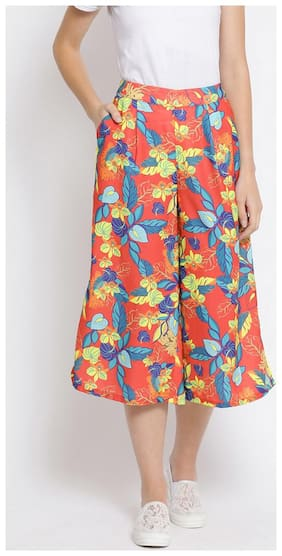 OXOLLOXO Women Regular fit Mid rise Floral Cullotes - Red