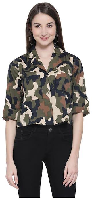 Oxolloxo Women Green Printed Regular Fit Shirt