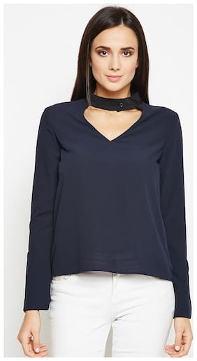 OXOLLOXO Women Solid A-line top - Blue