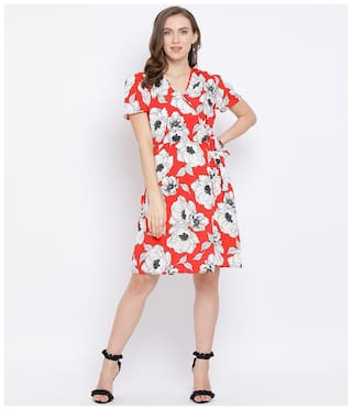 Oxolloxo Polyester Floral Red A Line Dress  For Women