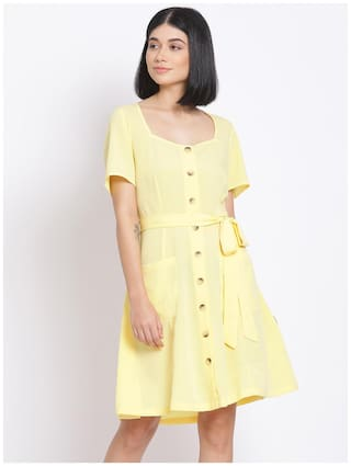 Oxolloxo Polyester Yellow Solid A Line Dress  For Women