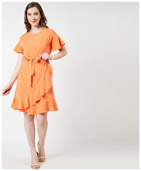 OXOLLOXO Polyester Solid A-line Dress Orange