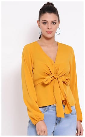 OXOLLOXO Women Solid A-line top - Yellow