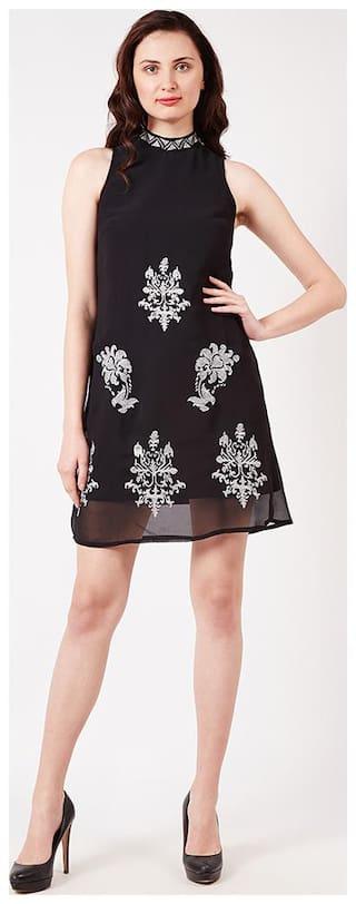 OXOLLOXO Black Printed A-line dress
