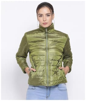 Oxolloxo Women Solid Bomber Jacket - Green