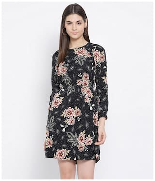 Oxolloxo Polyester Floral Black A Line Dress  For Women