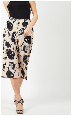 OXOLLOXO Women Regular fit Printed Cullotes - Beige & Black