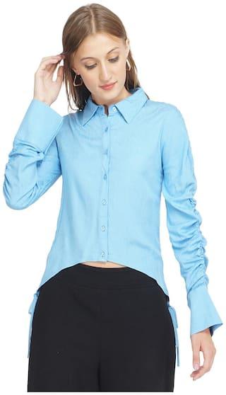 Oxolloxo Women Blue Solid Regular Fit Shirt