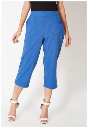 OXOLLOXO Women Regular fit Mid rise Solid Cullotes - Blue