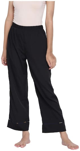 Oxolloxo Urbanic Black fuzzy women nightwear Piping details pajama