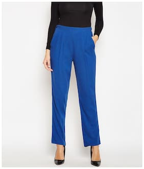 OXOLLOXO Women Regular fit Mid rise Solid Regular trousers - Blue