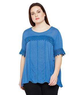 OXOLLOXO Women Viscose Solid - A-line Top Blue