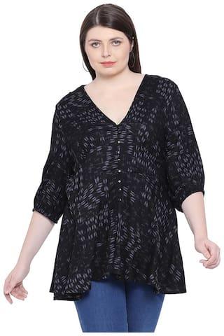 Oxolloxo Women Printed A-line top - Black