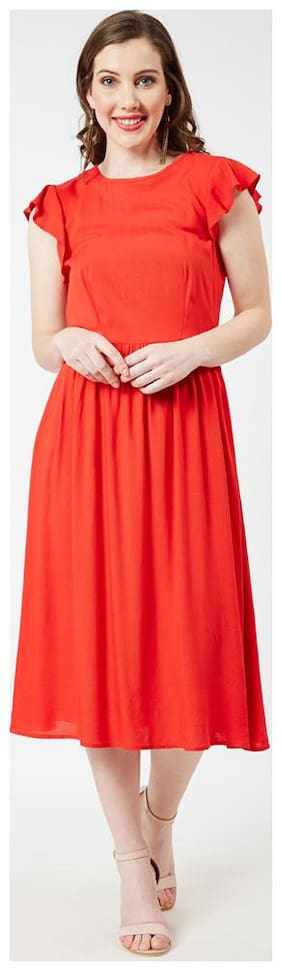 OXOLLOXO Viscose Solid A-line Dress Red