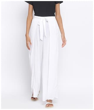 Oxolloxo White Solid Flared Palazzo
