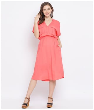 Oxolloxo Viscose Rayon Solid Pink A Line Dress  For Women