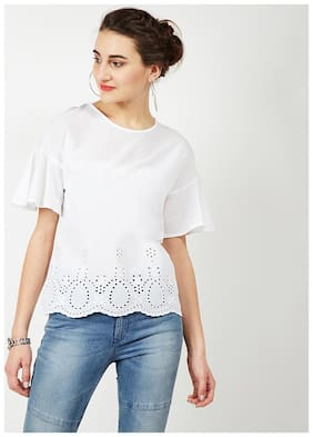 OXOLLOXO Women Solid A-line top - White