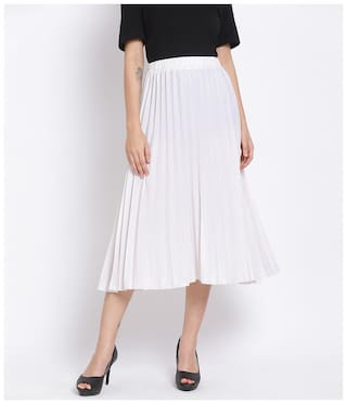 Oxolloxo Solid A-line skirt Midi Skirt - White