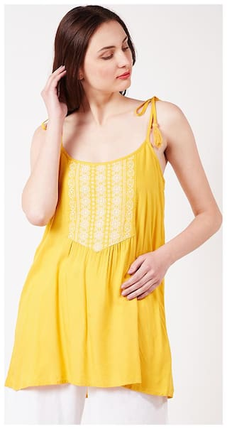 OXOLLOXO Women Printed A-line top - Yellow