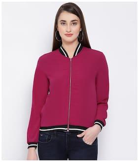 Oxolloxo Women Solid Regular Jacket - Pink