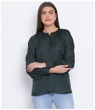 Oxolloxo Women Green Solid Regular Fit Shirt