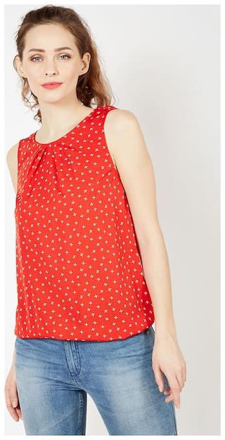 OXOLLOXO Women Printed A-line top - Red